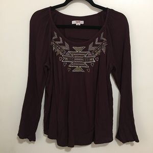 MOSSIMO boho embroidered tribal maroon top AM9